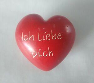 Herz Gravur Speckstein Stein rot Liebe  Geschenk Valentin Ich liebe Dich
