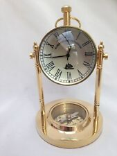 Solid Brass Marine Nautical Spherical Ball Desk Clock with compass - Gift