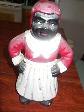 "Vtg Antique Black Americana Mammy Ceramic Finger Doll 9"""