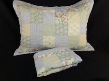 Set of 2 Blue Yellow STANDARD PILLOW SHAMS Patchwork Padded Floral Cottage