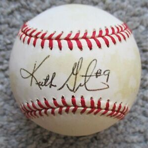 KEITH GINTER Signed Rawlings NL Baseball - ASTROS, BREWERS, A's Infielder