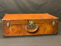 Large Louis Vuitton Leather Hide 1920s Suitcase Trunk