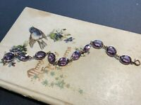 Antique 14K Yellow Gold With Amethyst Link Bracelet 1910's