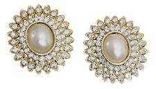Crystal and Pearl Oval Stud Earring With Gold Setting (BA893)
