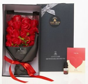 Red Rose Soap Flowers Presented In Luxury Gift Box - Birthday, Easter gift