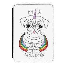 I'm A Pugicorn Rainbow Unicorn Pug iPad Mini 1 2 3 PU Leather Flip Case Cover