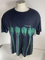 Vintage OP Ocean Pacific 1993 Graphic T-Shirt Blue Palm Trees Retro Beach USA XL