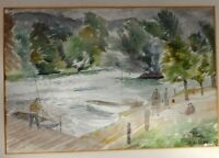 Original Old Watercolour Painting  Of A River Signed A.H. HALL 43