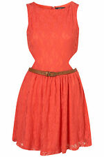 BNWT Rare Coral Cut Out Side Lace Dress with Belt, Size 14 RRP £46