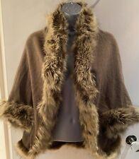 Yu & Me Paris Brown Faux Fur Trimmed Waistcoat Bolero Shrug One Size Up To 14