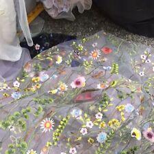 1 Yard 51'' Width Lace Fabric Floral Flower Embroidery Wedding Bridal Veil Trim