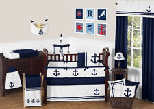 Sweet Jojo Design Navy Blue Hotel Nautical Boat Anchor Baby Boy Crib Bedding Set
