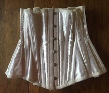 Authentic Mid-Century Corset - Boning - White Satin - Waist Cincher -Custom Made