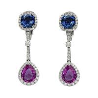 4Ct Pear Cushion Amethyst Sapphire Simulant Diamond dangle Earrings 925 Silver