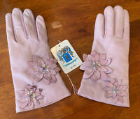 NWT Portolano Lilac Purple Leather Gloves New 6.5 Cashmere Lined Italy Driving