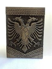 VINTAGE NEW WOOD CARVING HANDCRAFTED ALBANIAN,KOSOVA EAGLE MAP-27.5 x 20.5 CM-R