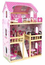 XXL Hölzern Großes Puppenhaus Landhaus Dollhouse + Möbel 90x60x30 cm NEU HOLZ