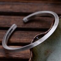 Solid Sterling Silver Stamped Mens Plain Torque Open Bangle Cuff Bracelet
