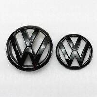 Gloss Black 135mm Front Grill Badge + 110mm Rear Trunk Lid Emblem Car Logo