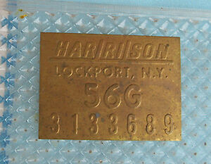 Corvette 1956 Harrison Brass Radiator Tag 1956 G July