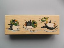 PENNY BLACK RUBBER STAMPS WHAT A WINTER PENGUINS NEW wood STAMP