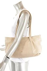 "HENRY BEGUELIN ""Hand Made"" Beige Pebble Leather Satchel BAG 14.5"" x 9"""