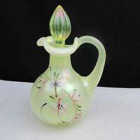Fenton Topaz Opalescent Lily Trails Hand Painted Cruet C2026