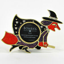 """Bombay Company WITCH 5"""" Picture Frame Enamel European Crystal Halloween MIB"""