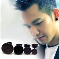 Black Round Shaped For Women Men Earrings Ear Studs Stainless Steel 1pair