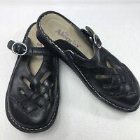 Alegria Freesia Mules Black Woven Leather Womens Size 36