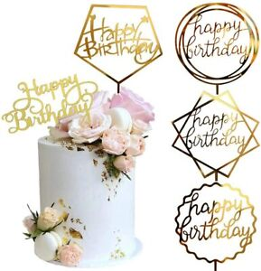 New Happy Birthday Cake Topper Acrylic Party Decor Supplies UK Free Delivery