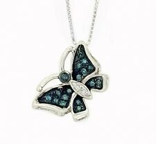 Diamond Butterfly Pendant 10K White Gold Blue & White Diamond Pendant .06ct