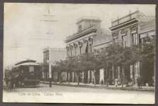 Peru Postcard Callao Calle De Lima & Tramway 1900