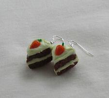 Handmade Unusual Fun Fimo Iced Carrot Sponge Cake Inspired Earrings - Gift