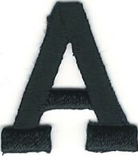 """1"""" Tall Black Monogram Block Letter A Embroidery Patch"""