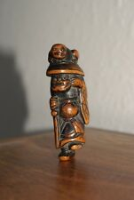 Antique Japanese Edo - 18 Century Wood Netsuke,Shoki and Oni