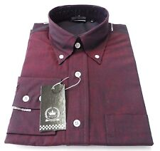 Relco Men's Long Sleeved Burgundy/Black Tonic Mod Retro Shirt S to 3xl