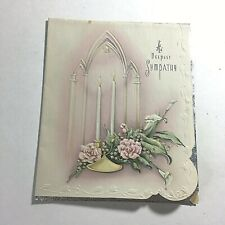 Vintage 1950s Sympathy Card Candle Arch Collectible Great Art !