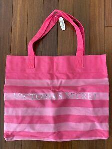 NEW Victorias Secret Pink Stripe Canvas Weekender Travel Tote Shoulder Beach Bag