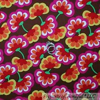 BonEful Fabric FQ Cotton Quilt Brown White Yellow Pink Green Red Lg Flower Power