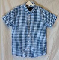 Boys Primark Blue White Check Casual Short Sleeve Shirt Age 9-10 Years
