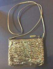 Vintage Whiting & Davis Signed Gold Mesh Cross Body Evening Bag Leather Strap
