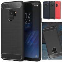 For Samsung Galaxy S7 edge S8 S9 Plus Carbon Fiber Silicone Rubber Bumper Cover