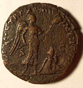 Roman Empire Brass Sestertius Marcus Aurelius Armeniacus Victory 164AD RIC 890