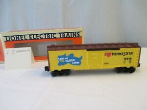 Lionel I Love Minnesota Box Car 6-19919, 1993 O-027 Gauge 3 Rail Track, New