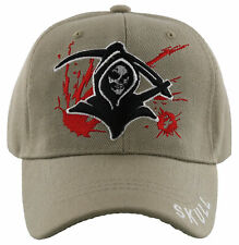 NEW! GRIM REAPER DEATH SKULL BALL CAP HAT TAN