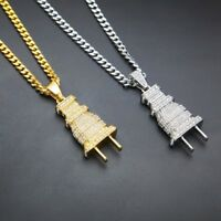 "24""Men's Stainless Steel Hip Hop Electric Thick Plug Pendant Necklace Chain"