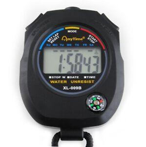 Digital Stoppuhr Multifunktion Taschenuhr Stopp Kompass Kalender Alarm