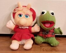 Baby Kermit and Baby Miss Piggy Henson Assoc.  1987 muppets plush Christmas