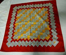 Women's Vintage Scarf By Nasharr Red Yellow White Geometric Mod Made In Italy